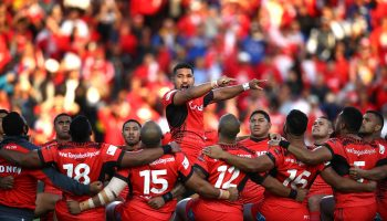 HAMILTON, NEW ZEALAND - NOVEMBER 04:  Tonga perform their cultural challenge during the 2017 Rugby League World Cup match between Samoa and Tonga at Waikato Stadium on November 4, 2017 in Hamilton, New Zealand.  (Photo by Phil Walter/Getty Images)